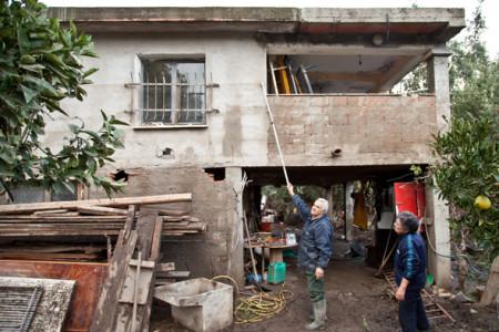Torpè, il livello raggiunto dall'alluvione  (foto, S. Novellu - Cronache Nuoresi)