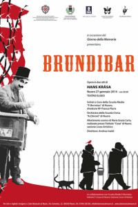 La locandina dell'opera Brundibar, in scena all'Eliseo