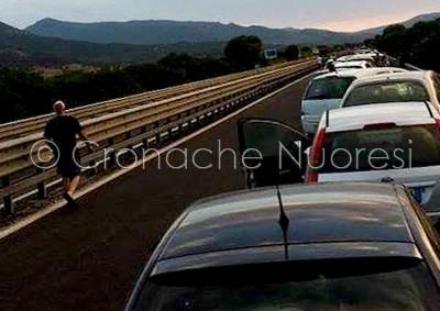 La coda di auto sulla 131, prima dell'incidente (© foto Cronache Nuoresi)