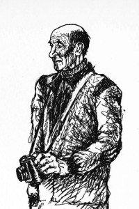 Nicola Porcu in una caricatura di Elio Moncelsi