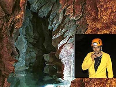 Un scorcio della Grotta Su Bentu e un ritratto di Luigio Mereu