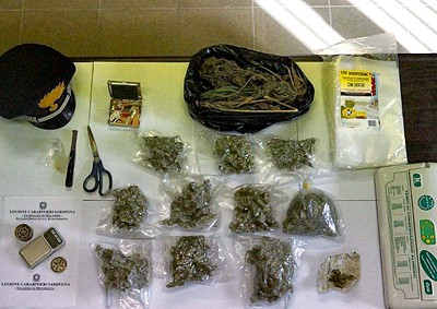 La marijuana sequestrata a Bosa
