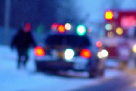 Mezzi di soccorso sul luogo di un incidente