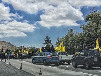 La manifestazione della Coldiretti sulla 131 (© foto S.Novellu)