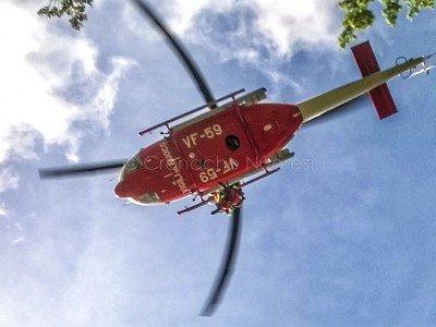 Elicottero dei VdF all'arrivo a Nuoro