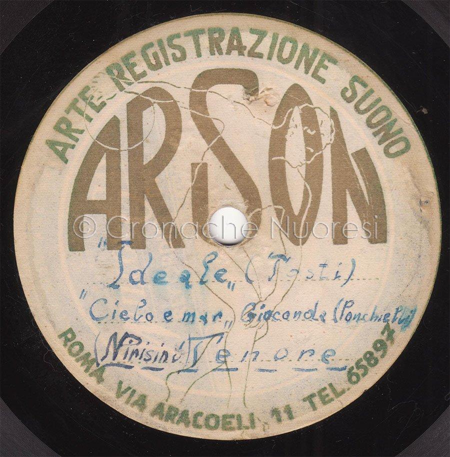L'etichetta del disco inciso da Nedo Pirisino nel 1954