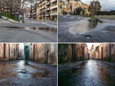 Nuoro, perdite d'acqua (foto Cronache Nuoresi)