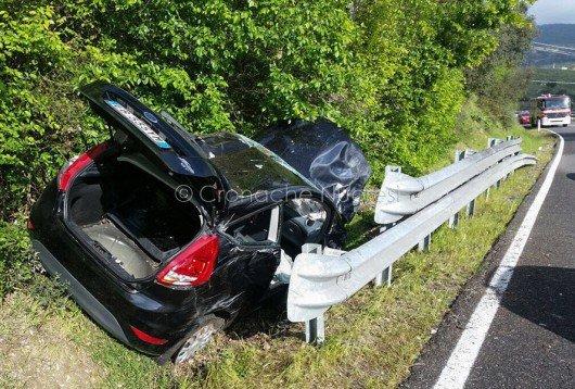 La Ford Fiesta subito dopo l'incidente (foto VdF)