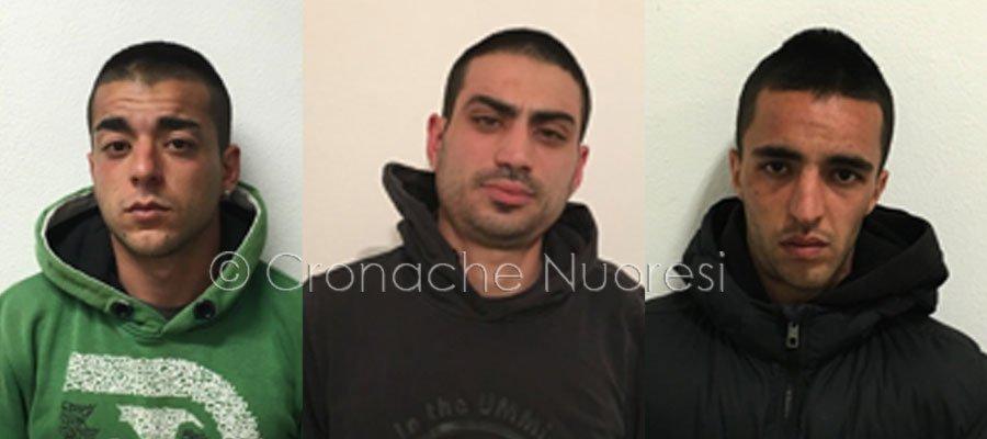 Gli arrestati: Alessio Murinu, Michael Putzu e Giovanni Murinu