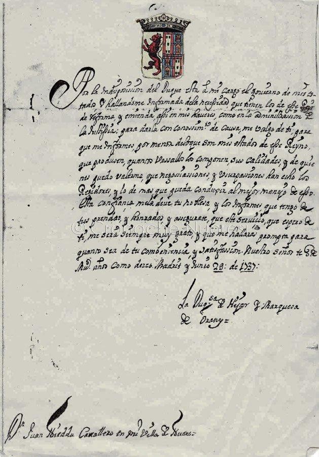 Lettera da Madrid del 1737