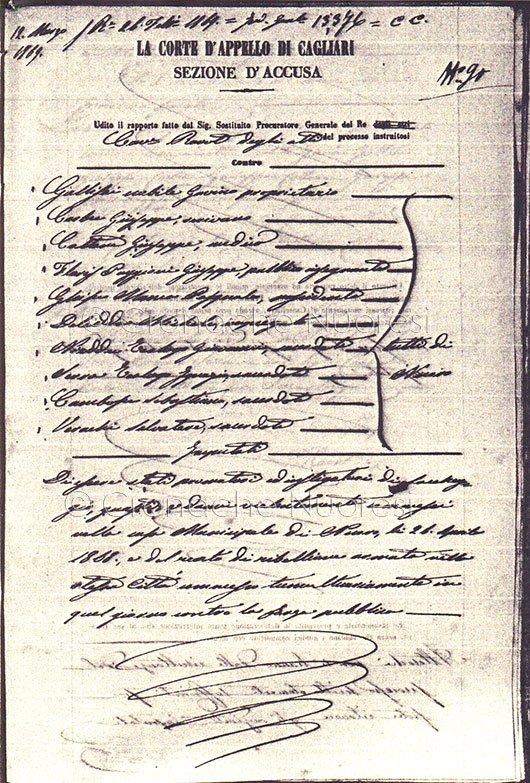 """Corte D'Appello di Cagliari, 1868, Elenco degli imputati al processo per i moti """"de Su Connottu"""""""