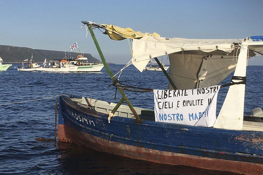 La protesta dei pescatori a Oristano