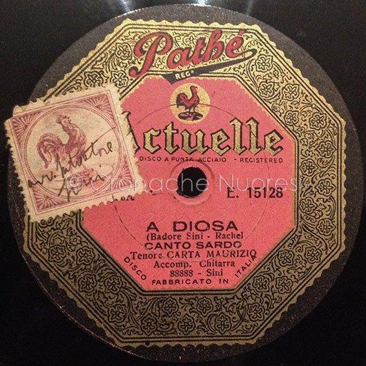 Il disco A diosa (Sini-Rachel) cantato dal tenore M.Carta