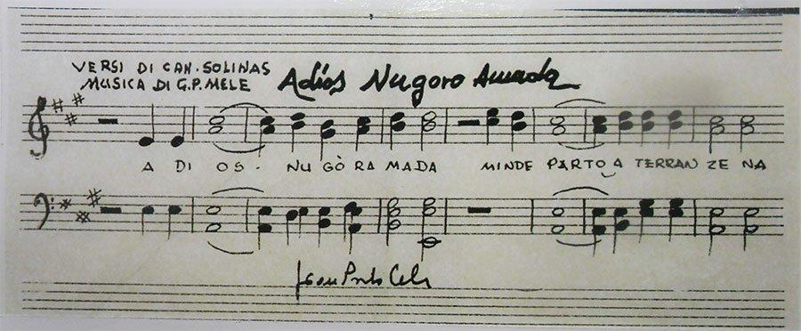 """Lo spartito originale di """"Adios Nùgoro amada"""""""