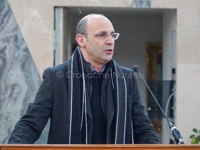 L'intervento di Leonardo Moro nel carcere di Badu 'e Carros (foto S.Novellu)