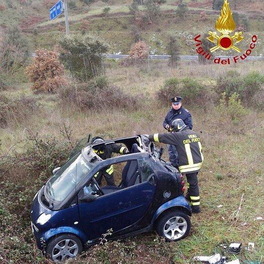 La Smart dopo l'incidente