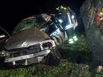 La Opel Corsa dopo l'incidente di Orani