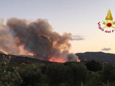 Un'immagine degli incendi odierni