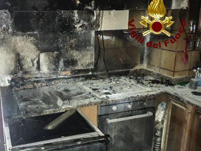 La cucina dopo l'incendio