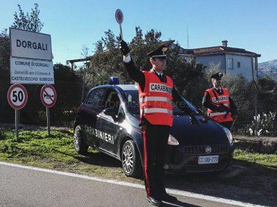 Un posto di blocco dei Carabinieri di Dorgali