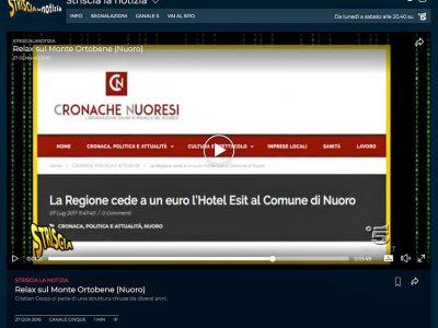 La schermata di Cronache Nuoresi, mostrata da Striscia a Notizia