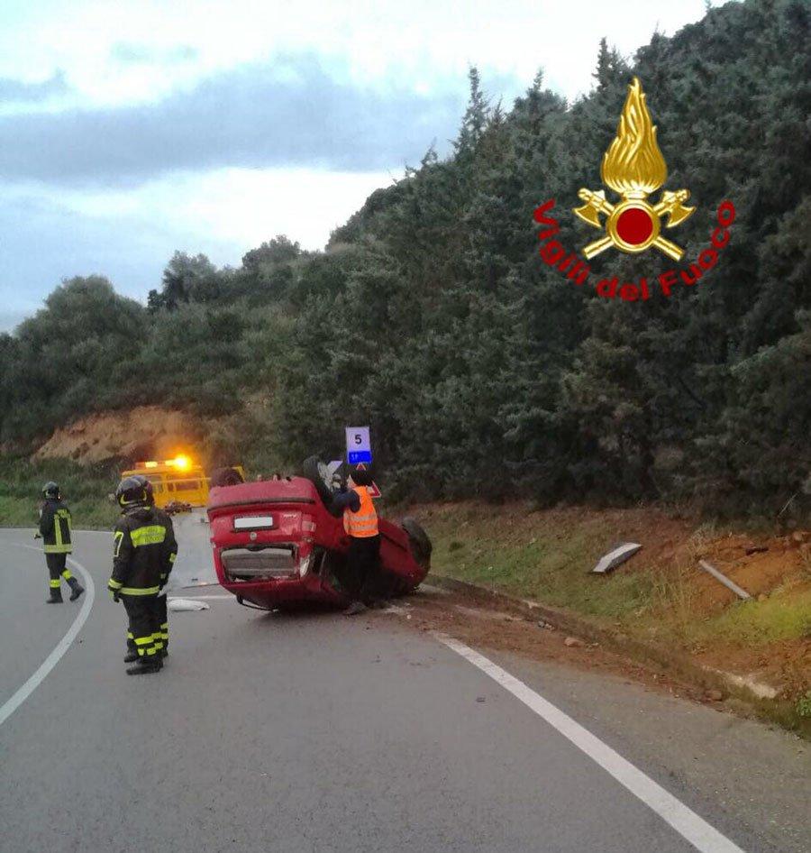 La Fiat Panda subito dopo l'incidente