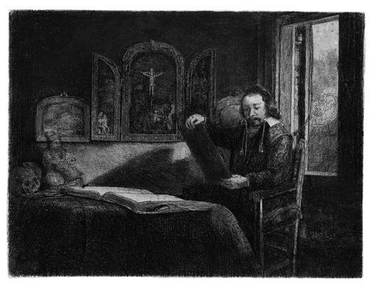 Una delle stampe di Rembrandt in mostra a Villacidro