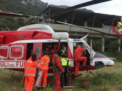 L'elisoccorso sulla scena dell'incidente