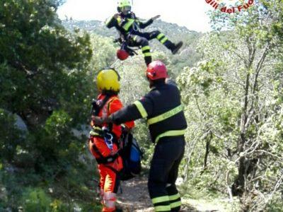 L'intervento di recupero dell'escursionista ferito