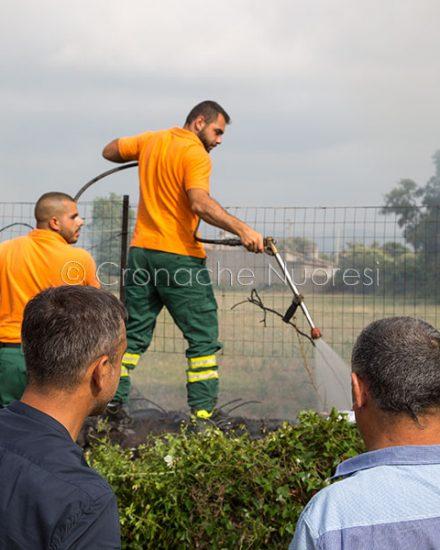 Le operazioni di spegnimento del rogo (© foto Cronache Nuoresi)
