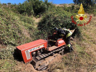 Il trattore dopo l'incidente