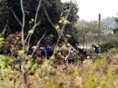 Le Forze dell'ordine sul luogo del ritrovamento del corpo di Manuel Careddu