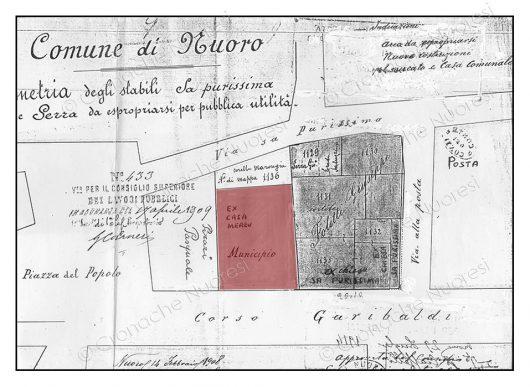 """1908. Pianta del Comune di- Nuoro con la """"Ex Chiesa di Sa Purissima"""" (© Cronache Nuoresi - Tutti i diritti riservati)"""