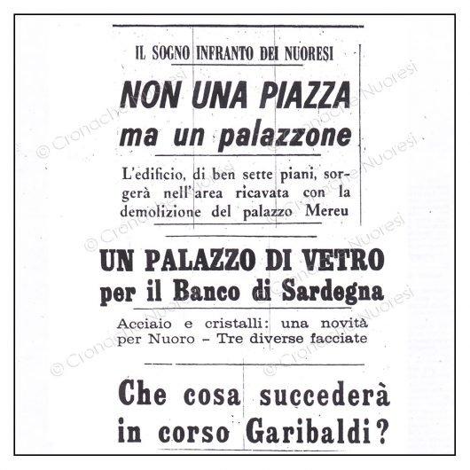 1968. L'abbattimento del Palazzo Mereu sulla stampa dell'epoca (© Cronache Nuoresi - Tutti i diritti riservati)