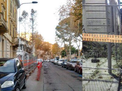 Via Vittorio Emanuele, fronte e retro (foto Cronache Nuoresi)