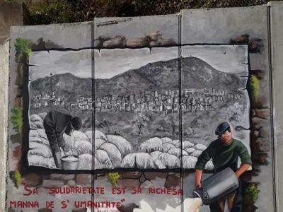 Lodè, murale di solidarietà ai pastori