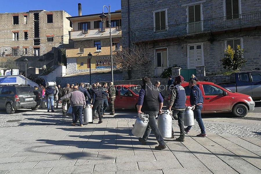 Guerra del latte, la protesta dei pastori di Sarule (foto Cinzia Angius)