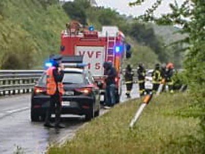 Carabinieri e VVF sul luogo dell'incidente