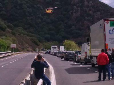L'intervento dell'elisoccorso nell'incidente a Marreri