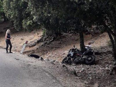 La moto dopo l'incidente