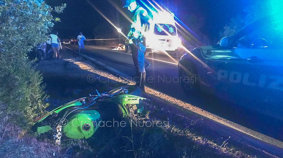 La moto di Falduto dopo l'incidente