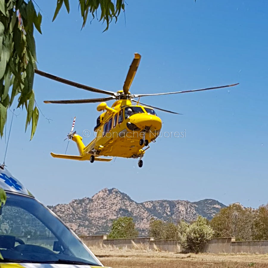 L'elisoccorso 118 sul luogo dell'incidente