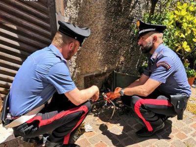 I Carabinieri davanti all'allaccio abusivo