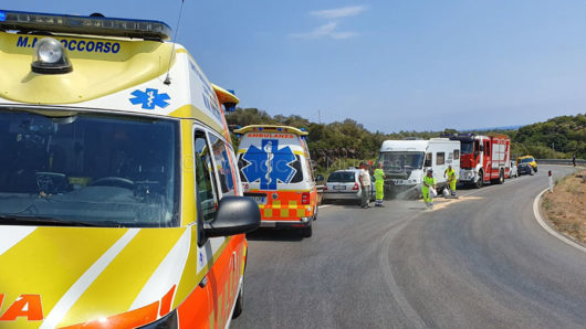 La scena dell'incidente sulla strada tra Orosei e Cala Liberotto