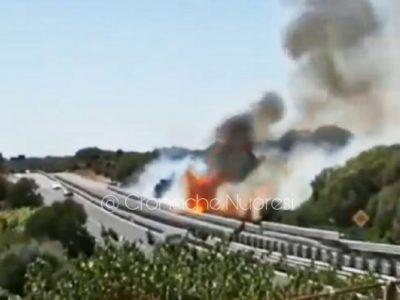 L'incendio nella zona di Santa Cristina