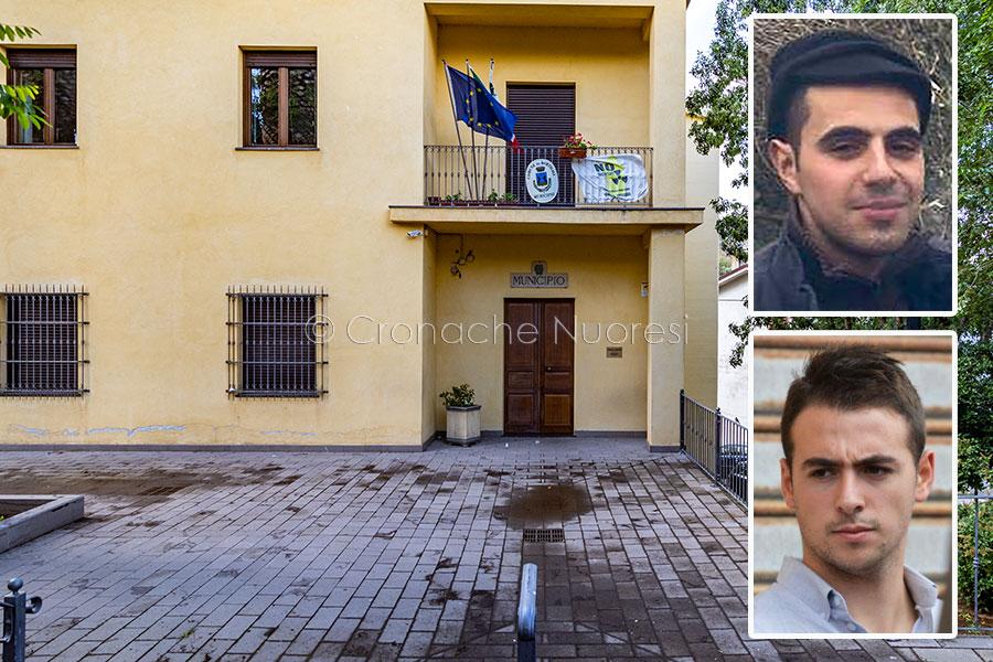 Bortigali, il palazzo Comunale e nel riquadro Gavino Bulla e Diego Caggiari