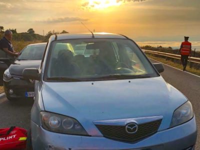Una delle auto coinvolte nell'incidente sulla Statale 129