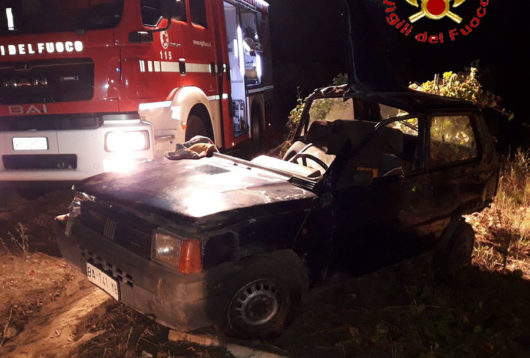 La Fiat Panda del pensionato dopo l'incidente