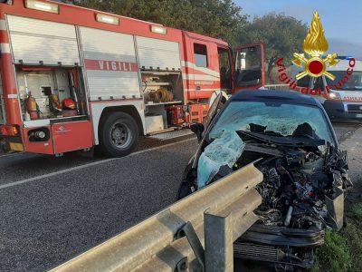 La Fiat Punto dopo l'incidente