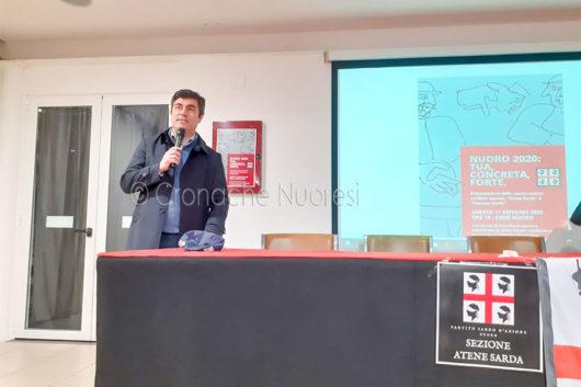 Il sindaco Andrea Soddu durante la presentazione del programma elettorale sardista